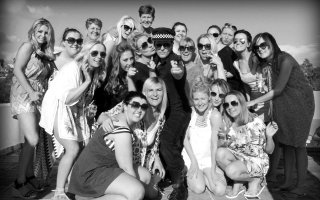Alextoyboy with happy hens in Puerto Banus