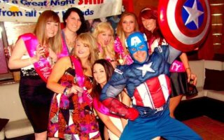 Stripper dressed with Captain America outfit
