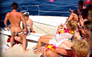 Hens on private boat party with stripper